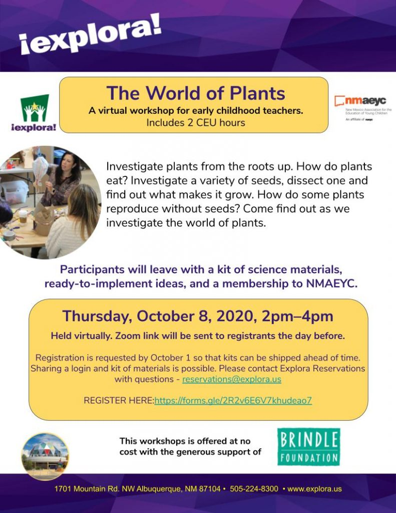 Flyer for the World of Plants workshop on October 8th