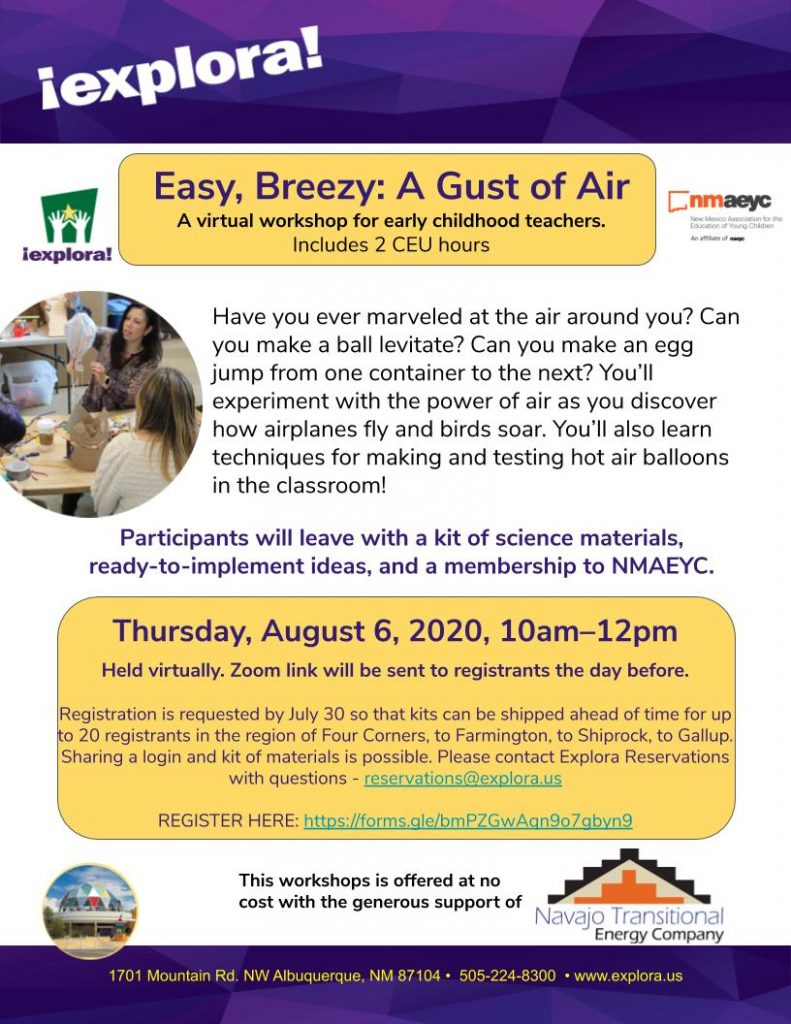 Flyer for Easy Breezy, a Gust of Air workshop