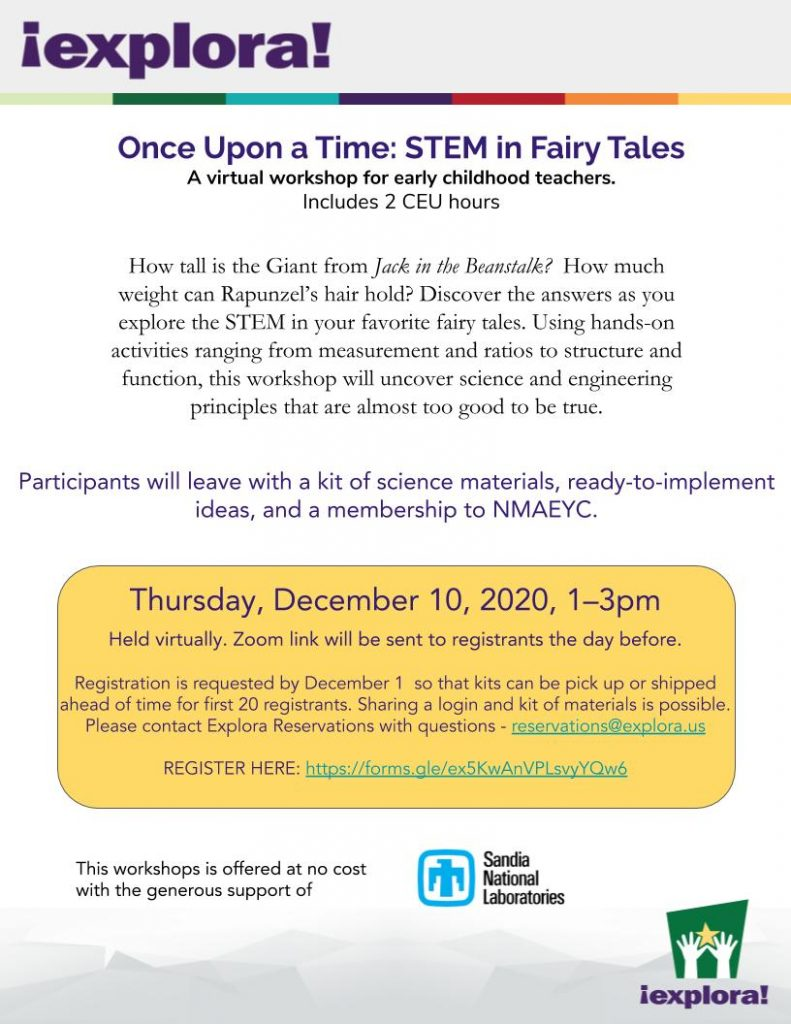 Flyer for STEM in Fairy Tales Early Childhood Workshop