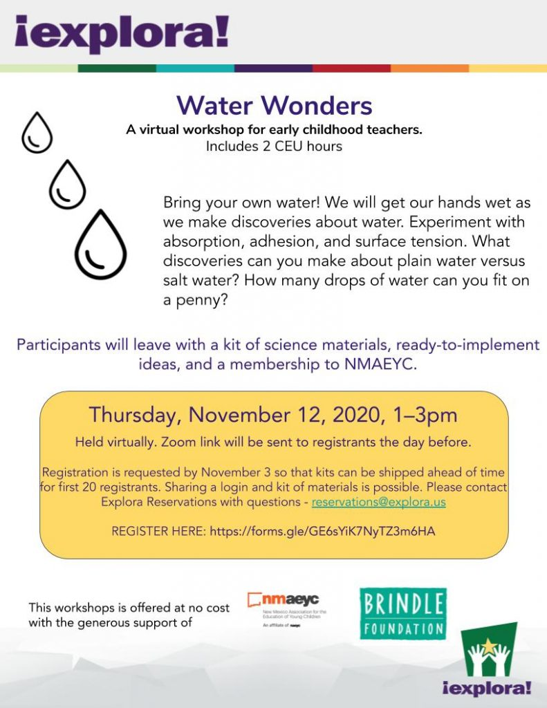 A poster for the Water Wonders Early Childhood event on November 12, 2020