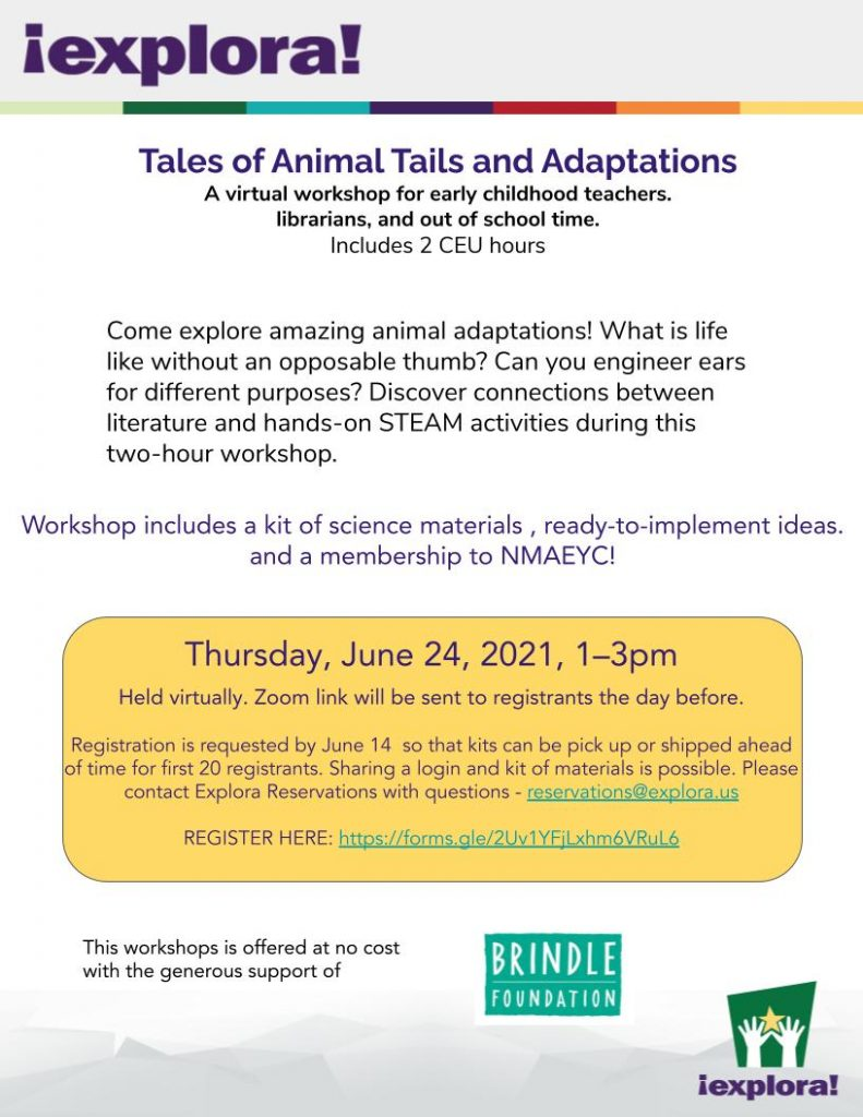 Flyer for Animal Tails Workshop